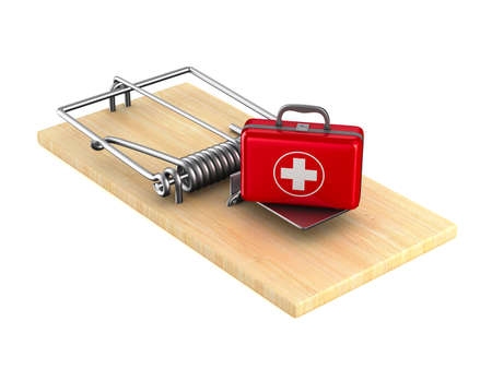 first aid kit in mousetrap. Isolated 3D illustration
