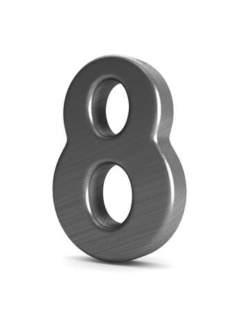 Number eight on white background. Isolated 3D illustration Stock Photo