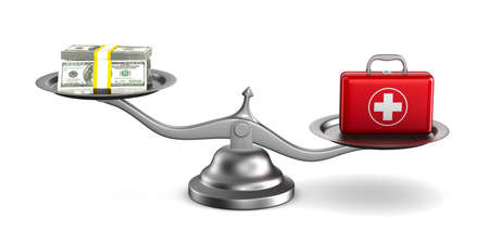 Medicines and money on scales. Isolated 3D illustration Stok Fotoğraf