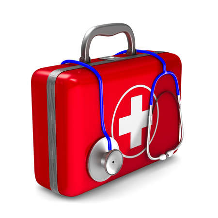 First aid kit on white background. Isolated 3D illustration Zdjęcie Seryjne