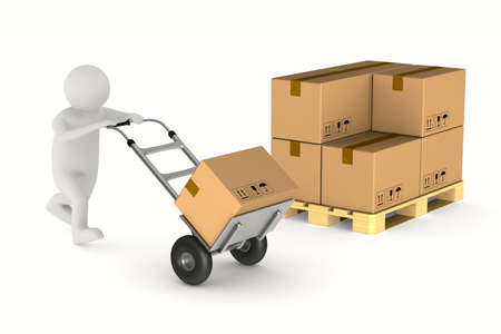 men with cargo box on hand truck. Isolated 3D illustration Stockfoto