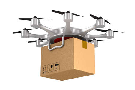 octocopter with cargo box on white background. Isolated 3d illustration Stock Photo