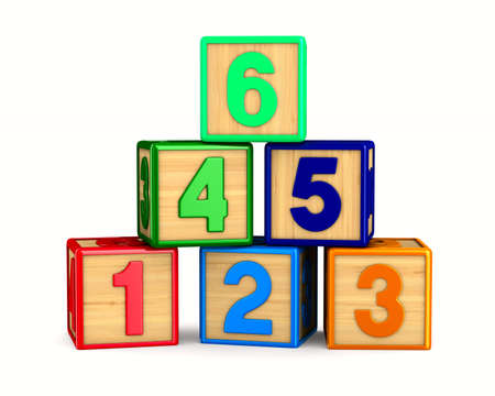 block with number on white background. Isolated 3D illustration Stock Photo