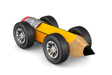 pencil with wheels on white background. Isolated 3D illustration  Stock Photo