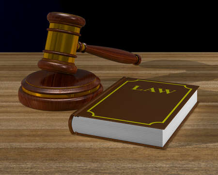 wooden gavel and book on table. 3D illustration