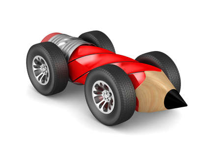 pencil with wheels on white background. Isolated 3D illustration Stock Illustration - 97401344
