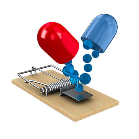 medicaments in mousetrap. Isolated 3D illustration Stock fotó - 97659764