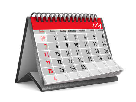 Calendar for July. Isolated 3D illustration 스톡 콘텐츠