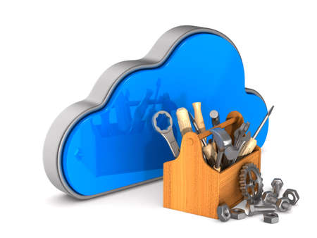 Cloud and toolbox on white background. Isolated 3D illustration Stok Fotoğraf