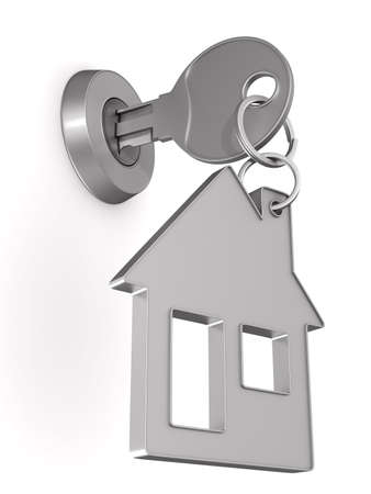key and trinket house on white background. isolated 3d illustration