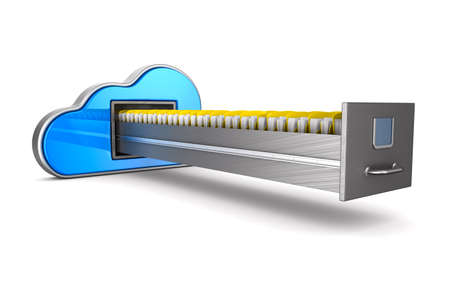 Cloud and filing cabinet on white background. Isolated 3D illustration Banco de Imagens