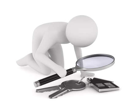 Man with magnifier and key on white background. Isolated 3D illustration
