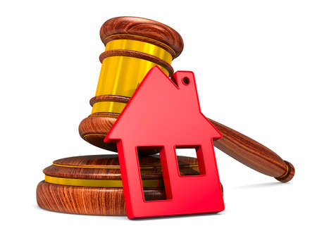 wooden gavel and red house on white background. Isolated 3D illustration