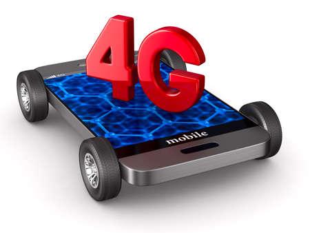4G phone on white background. Isolated 3D illustration