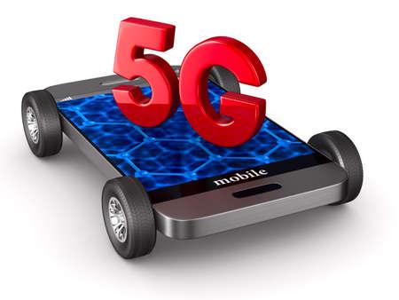 5G phone on white background. Isolated 3D illustration Stock Photo