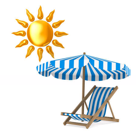Deckchair and parasol and sun on white background. Isolated 3D illustration Stock Photo