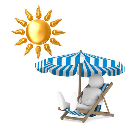 Deckchair and parasol and sun on white background. Isolated 3D illustration Stock Illustration - 101564396