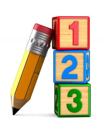 blocco con numero e matita su sfondo bianco. Illustrazione 3D isolata