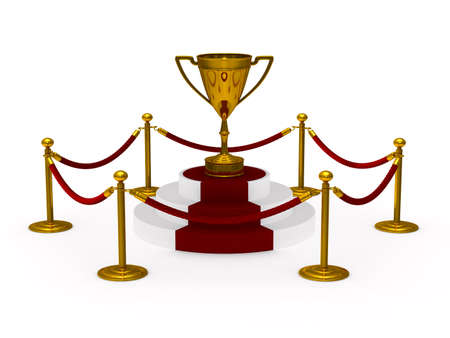 gold trophy cup on podium. white background. Isolated 3D illustration