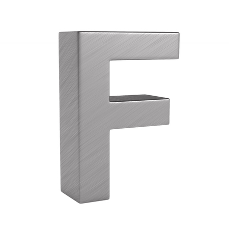Character F on white background. Isolated 3D illustration Фото со стока