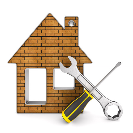 Repair home on white background. Isolated 3D illustration