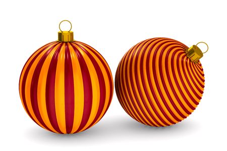 two christmas toys on white background. Isolated 3D illustration