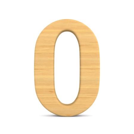 Number zero on white background. Isolated 3D illustration Stockfoto