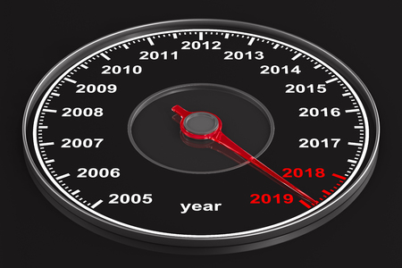 Calendar from speedometer on black background. 3D illustration Stok Fotoğraf - 108053284