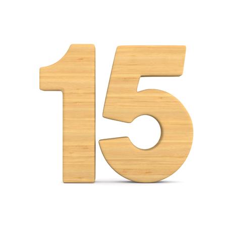 Nummer vijftien op witte achtergrond. Geïsoleerde 3D-afbeelding Stockfoto