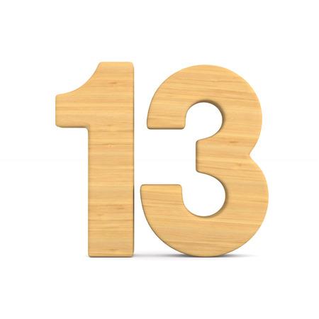 Number thirteen on white background. Isolated 3D illustration