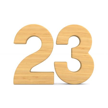 Number twenty three on white background. Isolated 3D illustration
