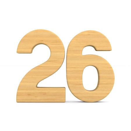 Number twenty six on white background. Isolated 3D illustration Stock Photo