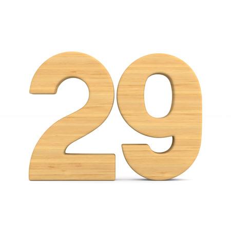 Number twenty nine on white background. Isolated 3D illustration Stock Photo