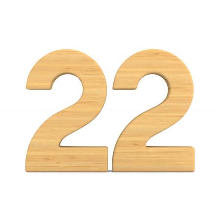 Número veintidós sobre fondo blanco. Ilustración 3D aislada