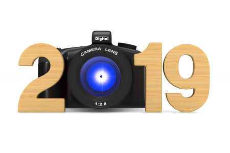 2019 new year. Isolated 3D illustration Foto de archivo - 110174489