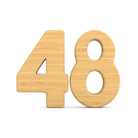 Number fourty eight on white background. Isolated 3D illustration