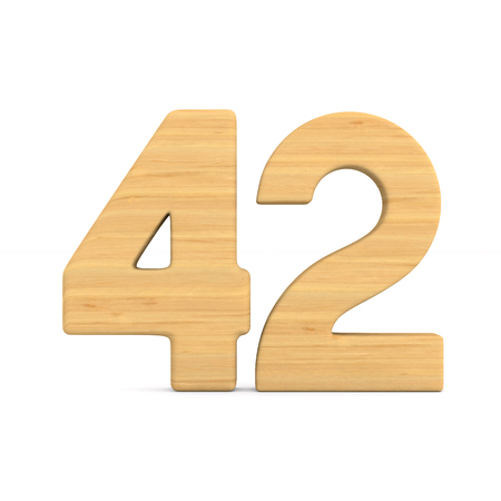 Number fourty two on white background. Isolated 3D illustration