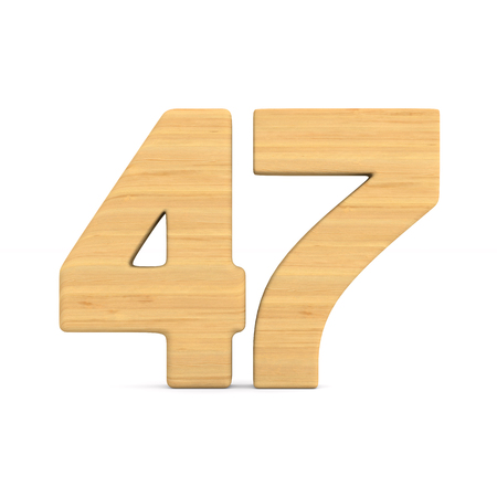 Number fourty seven on white background. Isolated 3D illustration