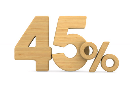 fourty five percent on white background. Isolated 3D illustration Stok Fotoğraf