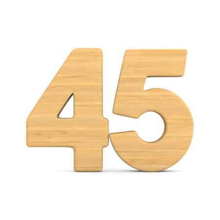 Number fourty five on white background. Isolated 3D illustration