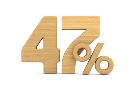 fourty seven percent on white background. Isolated 3D illustration