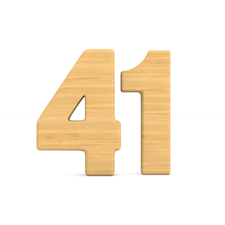 Number fourty one on white background. Isolated 3D illustration Stok Fotoğraf