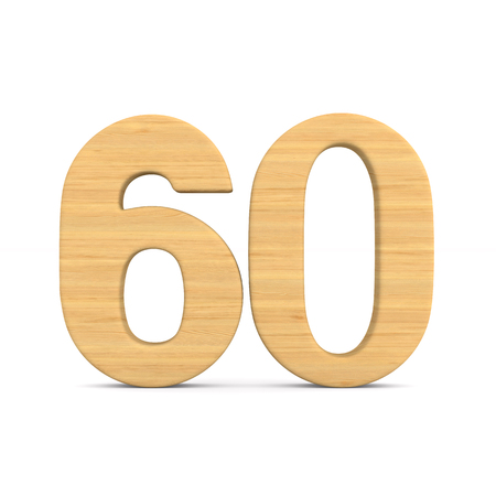 Number sixty on white background. Isolated 3D illustration