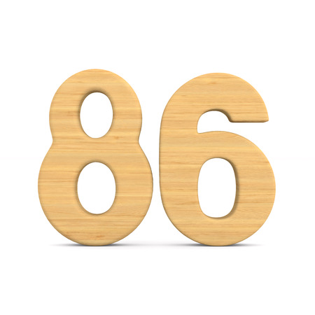 Number eighty six on white background. Isolated 3D illustration Stock Photo