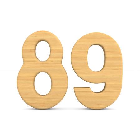 Number eighty nine on white background. Isolated 3D illustration Stock Photo