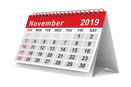 2019 year. Calendar for November. Isolated 3D illustration Banco de Imagens