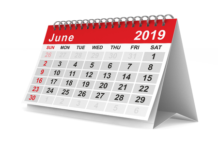 2019 year. Calendar for June. Isolated 3D illustration Stock Illustration - 117088206