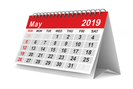 2019 year. Calendar for May. Isolated 3D illustration Standard-Bild