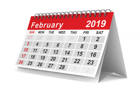 2019 year. Calendar for February. Isolated 3D illustration