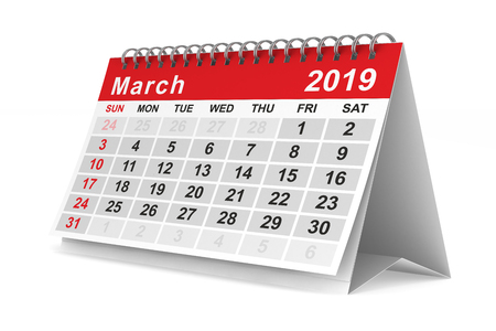 2019 year. Calendar for March. Isolated 3D illustration
